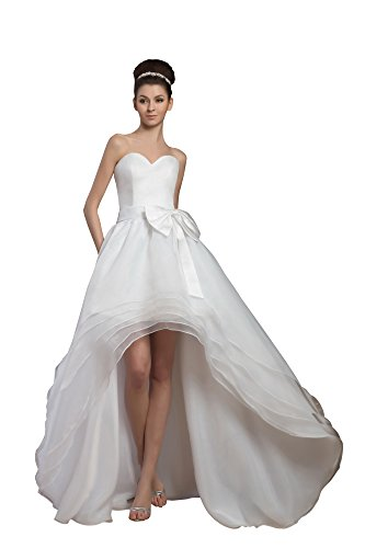 Vogue007 Womens Sweetheart Satin Pongee Wedding Dress with Bow, ColorCards, 16 by Unknown