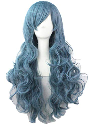 NEWPECK Girls Fashion Wavy Curly Long Hair Women Party Cosplay Wig Gray Blue Color