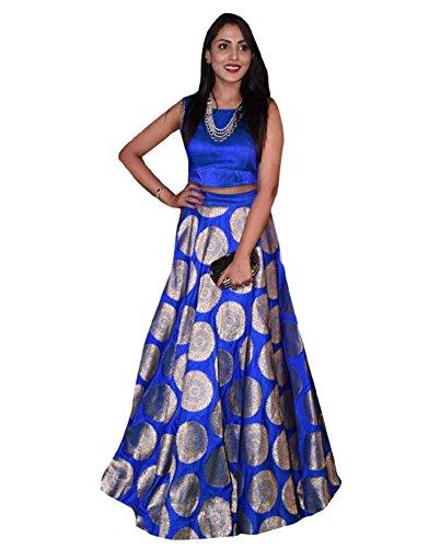 8a92281285839 MONIKA SILK MILL Women s Silk Lehenga Choli (Blue Free Size)  Amazon.in   Clothing   Accessories