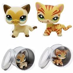 2pcs #3573 #1451 Littlest Pet Shop yellow Cream Short Hair Cat Kitty Heart Face