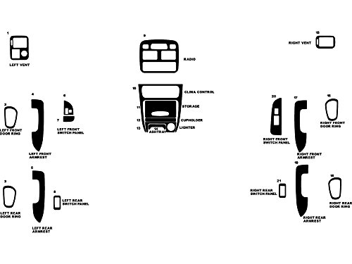 Rdash Dash Kit Decal Trim for Toyota Corolla 1998-2002 - Carbon Fiber 4D (Black) (Carbon Dash Kits)