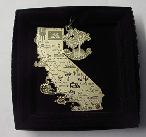 I Love My State California Dreaming Brass Large Landmarks Ornament Black Leatherette Gift - California Ornaments