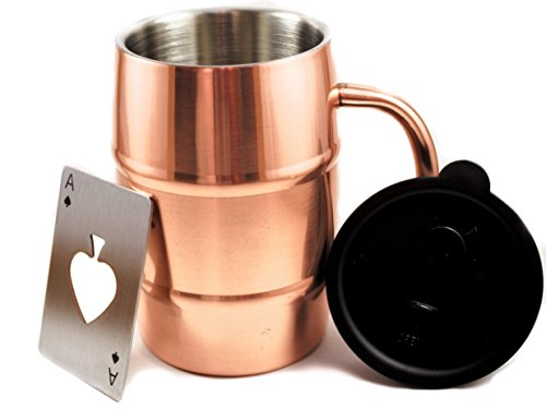 Polar Mugs Double Wall Air Insulated Stainless Steel Mug with Lid and Bottle Opener, 16.9-Ounce, Copper