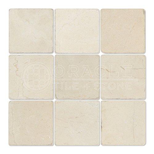 (Crema Marfil Spanish Marble 4 X 4 Subway Field Tile, Tumbled)