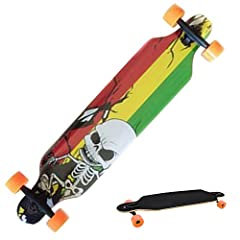 Features: 100% Brand New. Deck Material: Wood Wheel Material: Rubber Bottom Finish: Polish 3 Types: Type 1 (Letter Print), Type 2 (Animal Print), Type 3 (Skull Print) Color: Black Suitable Age: Adult, Children Item: Longboard Design: Double R...