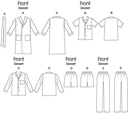 Patr/ón de costura para confeccionar ropa de dormir de hombre y de mujer varios modelos Butterick B5537