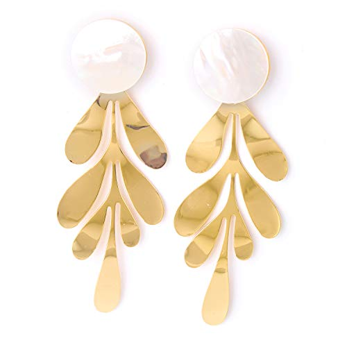 Charm Gold Plated Fashion Shell Earrings Gold Leaf Jewelry Statement Boho Dangle Hoop Earrings for Women by lixinyiqing