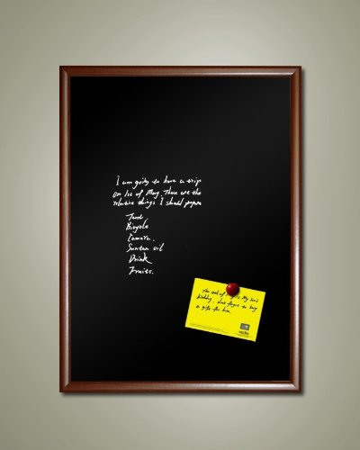 48'' x 36'' Extra-Large Framed Magnetic Black Chalk Board (Dark wood tone frame)