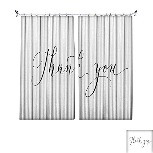 Customized Curtains Thank you words hand written custom calligraphy isolated on white Great for cards wedding invitations social media banners headers photo overlays W96