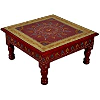 Hand Painted Wooden Square End Tables Chowki Christmas Gift Ideas 11 X 11 X 5.5 Inches