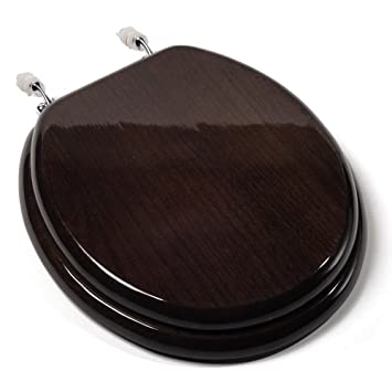 Comfort Seats C1B1R 18CH Designer Solid Wood Toilet Seat With PVD Chrome  Hinges, Round, Dark Brown   Bronze Toilet Seat   Amazon.com