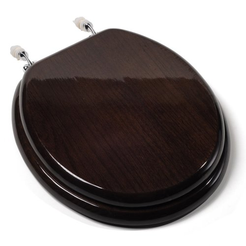 Comfort Seats C1B1R-18CH Designer Solid Wood Toilet Seat with PVD Chrome Hinges, Round, Dark Brown Pvd Brass Hinges