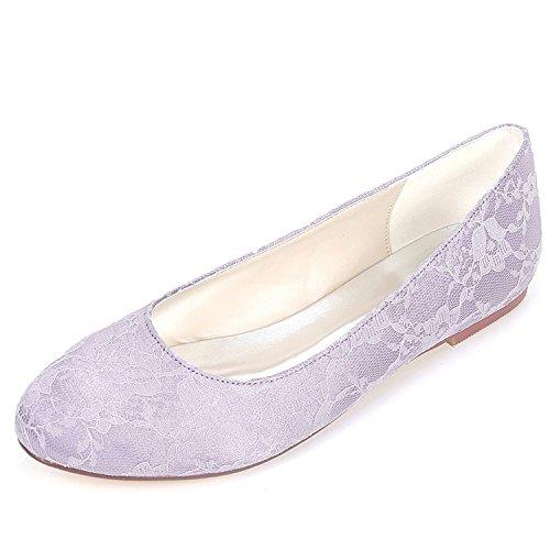Gattino Plateau 0 Head Scarpe Chunky Mid Abito L 6cm Lace Alto Tacco Purple Sposa Satin Round yc bridesmaids Da Donna XzX6BTx