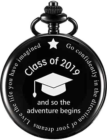 and So The Adventure Begins Pocket Watch Class of 2019 Engraved Gifts with Gift Box for Graduation Gift Supplies (for Graduation)