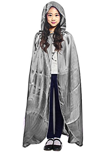 Kids Velvet Halloween Costume Long Witch Vampire Hooded Cloak Cape Fancy Dress -