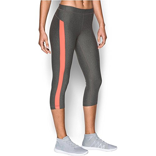 Under Armour Women's CoolSwitch Capris, Carbon Heather/London Orange, Large