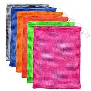 6 PCS Nylon Mesh Drawstring Storage Bag Equipment Bag Stuff Sack Golf Ball Bag ,Assorted