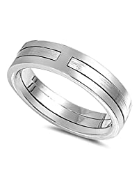 Puzzle Brushed Wedding Ring New .925 Sterling Silver Wide Band Sizes 5-12