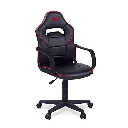 Adec - DRW, Silla de Escritorio Estudio o despacho, sillon Gaming Acabado en Color Negro y Rojo, Medidas: 60 cm (Ancho) x 98-108 cm (Alto) x 60 cm (Fondo)