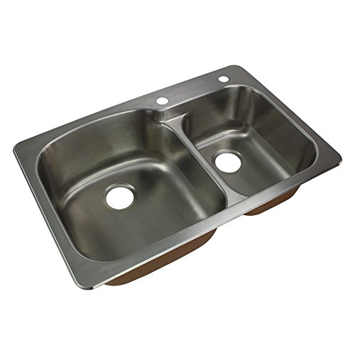 Transolid CTDD33229-2 Classic Stainless Steel 2-Hole Drop-in 75/25 Double bowl Kitchen Sink, 22 1/64