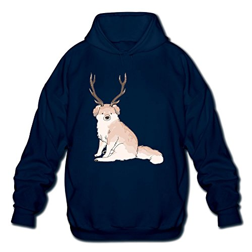 Price comparison product image Lovely Dog With Two Deer AntlersMen's Long Sleeve Cotton Pullover Hoodie Sweatshirts