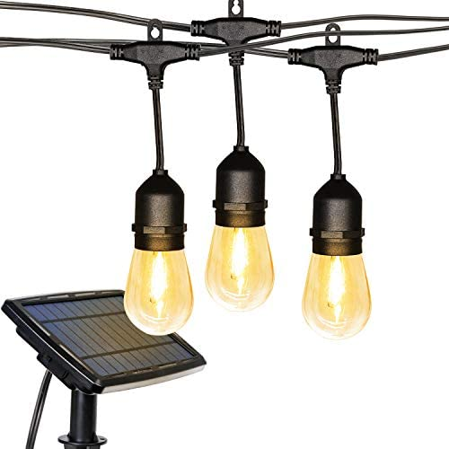 Solar String Lights, 27FT LED Outdoor String Lights, Waterproof Patio Lights with 12 Hanging Sockets, Light Sensor, 1W Vintage Edison Plastic Bulb Create Bistro Ambience for Backyard Pergola