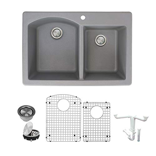 1.75 Medium Double Bowl - Transolid K-ATDD3322-17 Aversa Granite 1-Hole Top Mount D-Shape 1-3/4 Double Bowls Kitchen Sink Kit 33-in L x 22-in W x 8.81-in H Grey