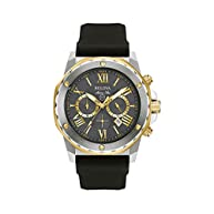 Bulova Men's Marine Star Chronograph Watch with Black Silicone Strap