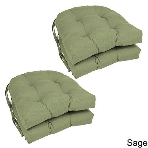 Blazing Needles U-Shaped Twill 16-inch Dining Chair Cushions (Set of 4) - 16