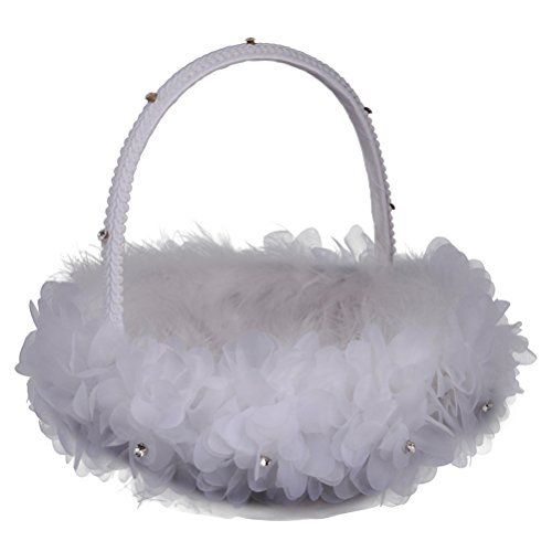 Wedding Flowers Feathers (OULII Wedding Flower Girl Basket Feather Candy Bridal Basket for Wedding Ceremony Party Decoration)