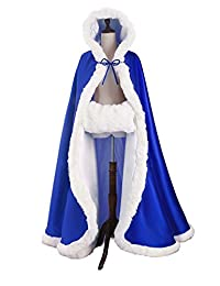 Oncefirst Women's Bridal Cape Wedding Cloak With Fur Floor-length Royal Blue
