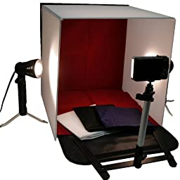 BlueDot Trading-Photo Tabletop Studio Light 16-Inch/40cm Tent Box Kit with 2 Lamps and Camera Stand - Small (White) Photo Box