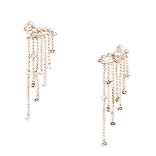 Star Rhinestone Long Tassels Drop Cuffs Earrings Charm - Women Gold Silver Fringe Wraps Dangle Earrings for Ladies (Gold) ()