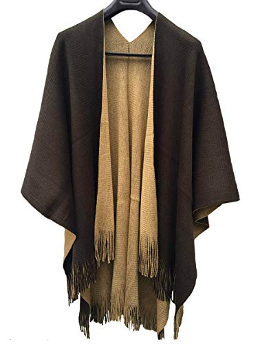 Womens Reversible Knitted Poncho Cape Oversized Christmas Scarf Blanket Shawl Wrap