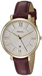 Fossil Women's ES3856 Jacqueline Three-Hand Date Leather Watch - Burgundy