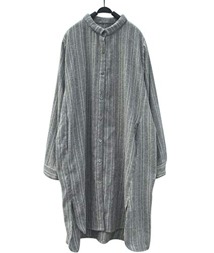 (YESNO TE0 Women Long Loose Shirt 100% Cotton Causal Striped Button-Down High Low Dip Hem)