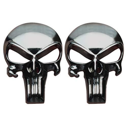 (Creatrill Gunmetal Plating 3D Metal Decal/Sticker - Tactical Skull for Gun Magazine, Magwell, Mag, Car, Truck, Motorcycle, etc (2 Pack))