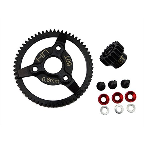 Hot Racing STE260 Steel Pinion and Spur Gear Set (18t/60t 32p)(Red) - Traxxas from Hot Racing