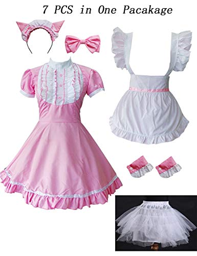 Colorful House Women's Cosplay Cat Ear French Apron Maid Fancy Dress Costume (Medium, Pink (with Petticoat)) by Colorful House (Image #1)
