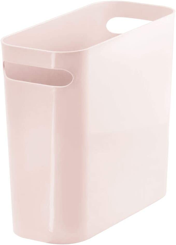 "mDesign Slim Plastic Rectangular Small Trash Can Wastebasket, Garbage Container Bin with Handles for Bathroom, Kitchen, Home Office, Dorm, Kids Room - 10"" High, Shatter-Resistant - Light Pink/Blush"