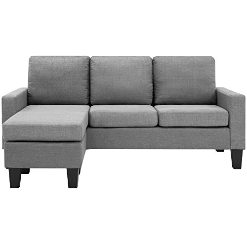 Best Choice Products Home Linen L-Shape Sectional Sofa Couch w/ Reversible Chaise Ottoman (Gray)