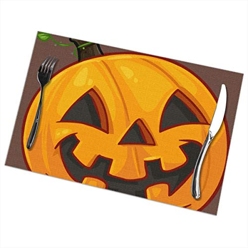 Mushroom Electronic Placemats Set of 6 Printing Design Pumpkin Face Halloween for Dining Table Washable Woven Vinyl Plate Mat Non-Slip Heat Resistant Kitchen Table Mats Easy to Clean 12x18 in