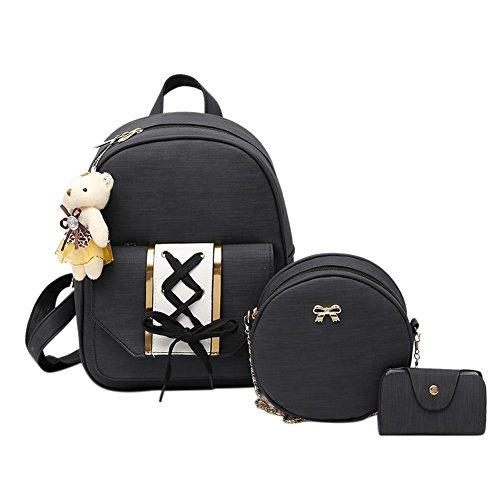 Domybest - Bolso mochila para mujer Rivet Style - Light Brown Tie Style - Black