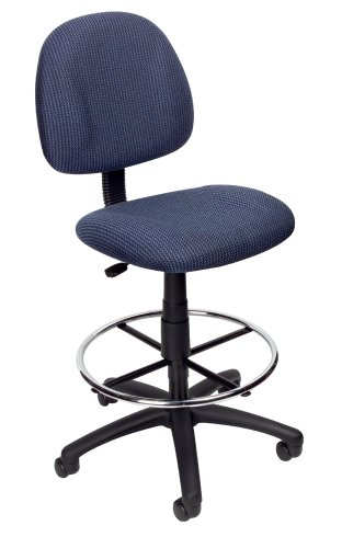 Boss Office Products B1615-BE Ergonomic Works Drafting Chair without Arms in Blue
