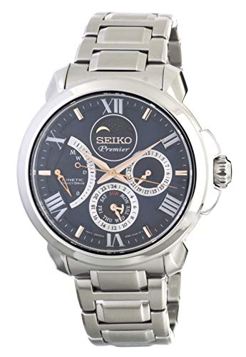 Seiko Premier Kinetic Direct Drive Moon Phase Sapphire Glass Steel Dress Blue Watch SRX017P1