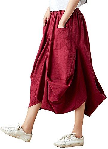 (Congcong Women's Linen Comfort Irregular Hem Lantern Harem Skirt (Wine, One Size))