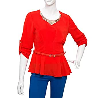 Damacseno Red Mixed Round Neck Ruffle & Peplum Top For Women