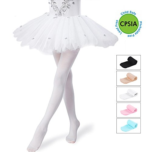 Girls Tights Ultra-Soft Footed Dance Sockings Ballet/Transition Tight Kids Super Elasticity Tights (Large, Nude)