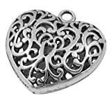 10 pcs Tibetan Style Pendants, Lead Free & Cadmium Free & Nickel Free, Heart, Antique Silver Color, Size: about 36mm long, 35mm wide, 12mm thick, hole: 3.5mm