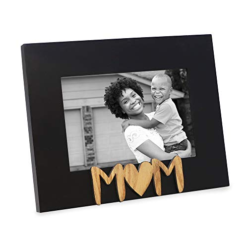 Isaac Jacobs Black Wood Sentiments Mom Picture Frame, 4x6 inch, Photo Gift for Mother, Family, Display on Tabletop, Desk (Black)